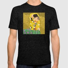 The Kiss (Lovers) by Gustav Klimt  Mens Fitted Tee Tri-Black SMALL