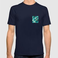 Plaid Pocket - Teal Blue/Green Mens Fitted Tee Navy SMALL