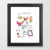 illustrated recipes: lamingtons Framed Art Print