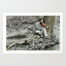 Fiddler on the Creek Art Print