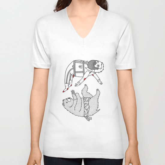 On the bear's uncontrollable urge to toss his master in the air V-neck T-shirt