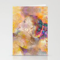 profile woman and flowers Stationery Cards
