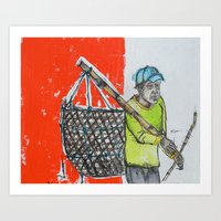 Seaweed Farmer Art Print