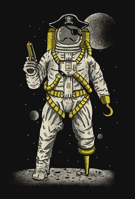 Astronaut Pirate Art Print