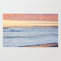 Vibrant Sunset over the Stacks at Huntington Beach, California Rug