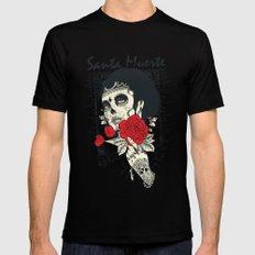 Santa muerte Rose Mens Fitted Tee Black SMALL