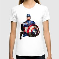 Polygon Heroes - Captain America Womens Fitted Tee White SMALL