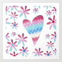 I Heart Flowers Art Print