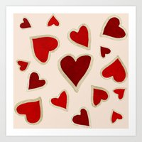 Ditsy dark hearts for lovers Art Print