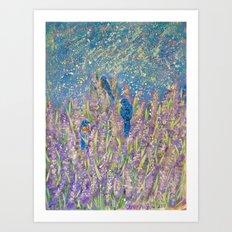 Blue Birds in a Lavender Field Art Print