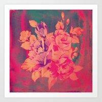 Vintage Pink Flowers  Art Print