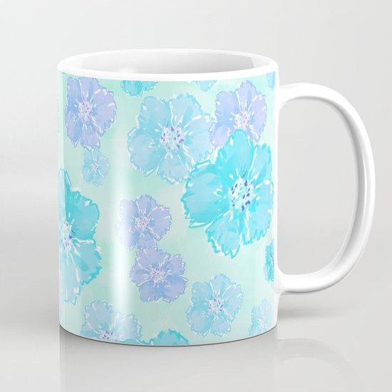 Blossoms Aqua Blue Mint Mug