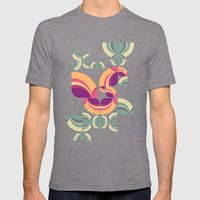 Vintage Pattern Peacock Mens Fitted Tee Tri-Grey SMALL
