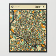 Canvas Print featuring AUSTIN MAP by Jazzberry Blue