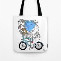Tote Bag featuring On how bicycle riders utilize team work in certain situations. by Michael C. Hsiung