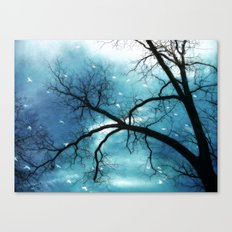 Surreal Blue Gothic Trees Birds Nature Decor Canvas Print