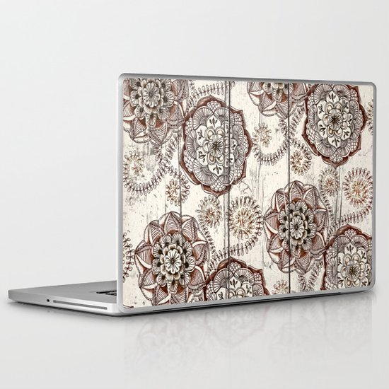 Coffee & Cocoa - brown & cream floral doodles on wood Laptop & iPad Skin