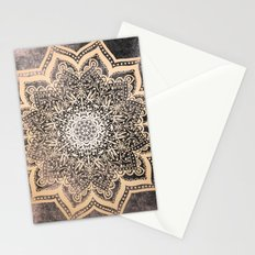 GOLD EARTH FLOWER MANDALA Stationery Cards