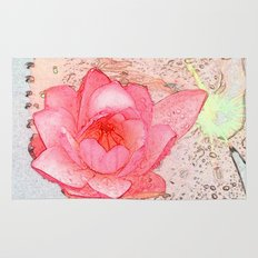 pink waterlily. floral photo art. Rug