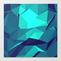 Blue Geometric Triangles Canvas Print