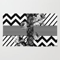 Trendy Black and White Floral Lace Stripes Chevron Rug