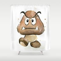 Goomba Watercolor Painting Shower Curtain