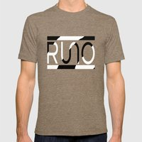 Rue Nothing RUNO Logo Zebra Mens Fitted Tee Tri-Coffee SMALL