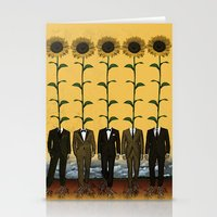 Sunflowers In Suits Print Stationery Cards