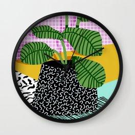 Wall Clock - Decent - memphis retro neon throwback illustration pop art houseplant socal urban kids trendy art - Wacka