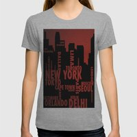 Cities Womens Fitted Tee Athletic Grey SMALL