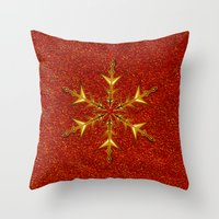 Golden Snowflake On Red … Throw Pillow