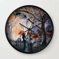 Autumn rain - watercolor Wall Clock