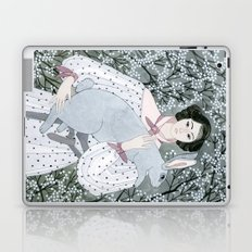 Girl and rabbit among flowers Laptop & iPad Skin