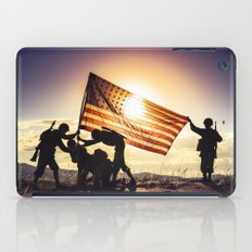 Soldiers Raising An American Flag At SunsetSoldiers Raisng An American Flag At Sunset iPad Case