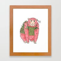 Peachtree The Chimp in Red Framed Art Print