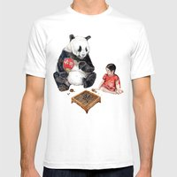 Playing Go with Panda Mens Fitted Tee White SMALL