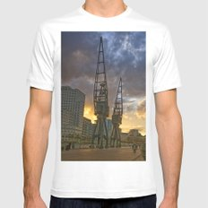 Docklands London Dusk Mens Fitted Tee SMALL White