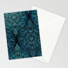 Black & Aqua Protea Doodle Pattern Stationery Cards