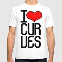 I Heart Curves Mens Fitted Tee White SMALL
