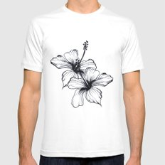 Aqua Floral Mens Fitted Tee SMALL White