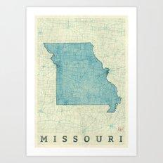 Missouri State Map Blue … Art Print