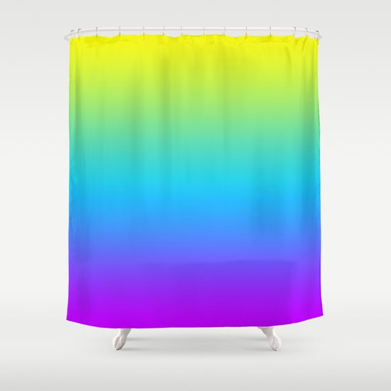 YELLOW TEAL PURPLE FADE Shower Curtain By Natalie Sales