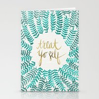 typography Stationery Cards featuring Treat Yo Self – Gold & Turquoise by Cat Coquillette