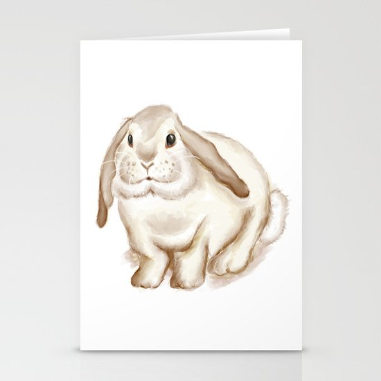 Watercolor Bunny Stationery Card