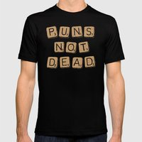 Puns Not Dead 2 Mens Fitted Tee Black SMALL