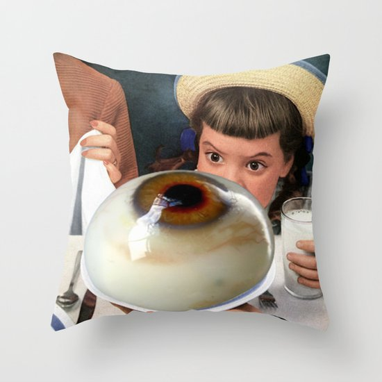 HER EYES WERE BIGGER THAN HER BELLY Throw Pillow