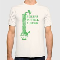 Phelps is a still a hero Mens Fitted Tee Natural SMALL