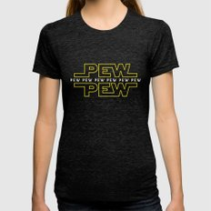 Pew Pew v2 Womens Fitted Tee Tri-Black MEDIUM