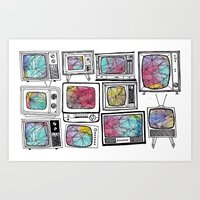 colour tv Art Print