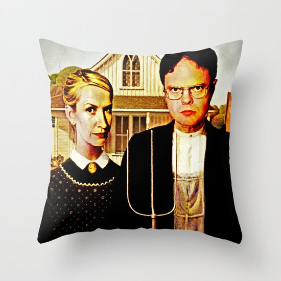 Dwight Schrute & Angela Martin (The Office: American Gothic) Throw Pillow